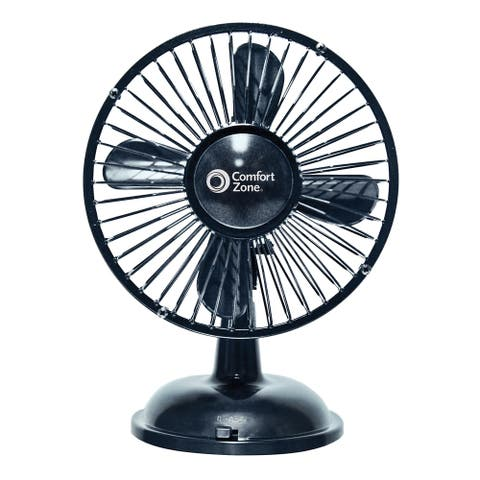 "Comfort Zone 5"" Oscillating Desk Fan, Black"