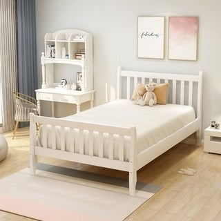 Harper & Bright Designs Twin Platform Bed Frame with Wood Slat Support