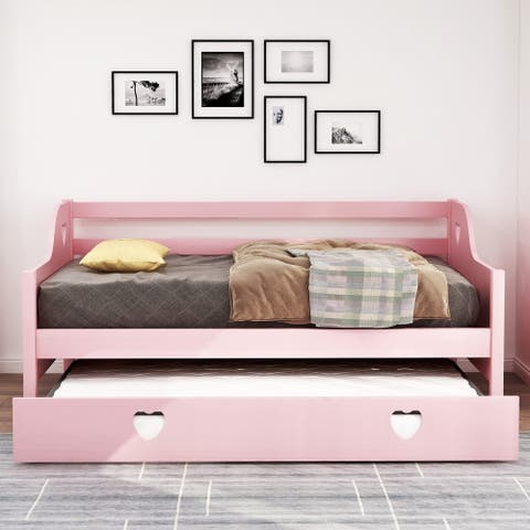 Harper & Bright Designs Loving Shape Twin Daybed with Trundle