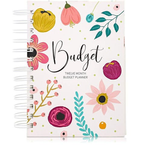 "12 Month Money Budget Planner Spiral Organizer Notebook 24 Inner Pockets, 5""x7"""