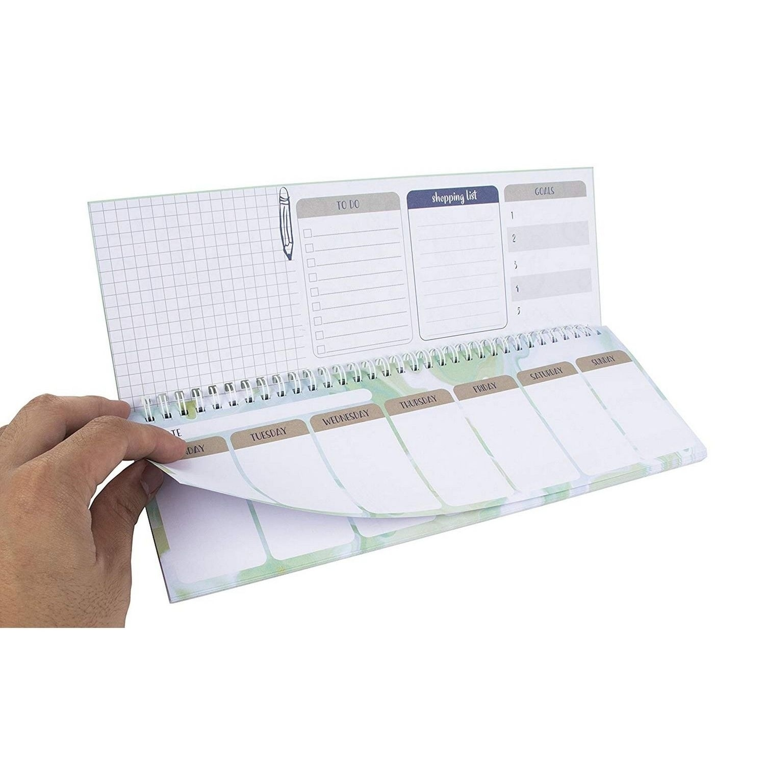 Spiral Weekly Planner Pad Undated Desk Calendar To Do Shopping List 11 7 X4 1 Overstock 30488463