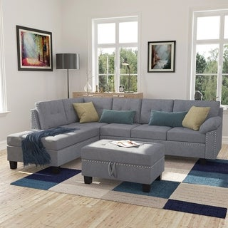 Merax 3-Piece Sectional Sofa Set with Storage Ottoman and Chaise Lounge Nail Head Detail, L-Shape Couch