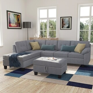 Copper Grove Lonan 3-piece Sectional Sofa Set with L-shaped Couch, Storage Ottoman, and Chaise Lounge