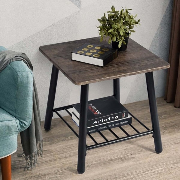 Modern 2-Tier Side End Table with Storage Shelf, Night Stand