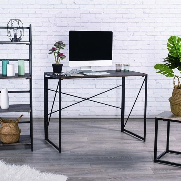 Modern Small Computer Desk, Foldable Writing Desk for Home Office