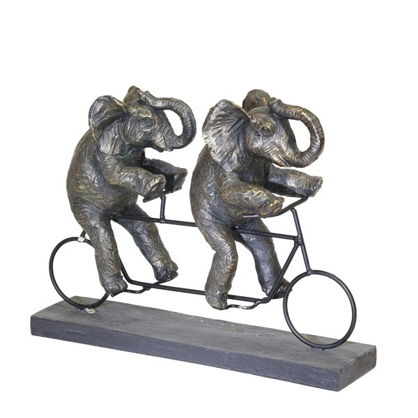 Polyresin Art Piece with Elephants And Tandem Bicycle, Bronze