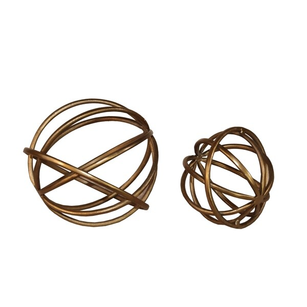 Metal Decorative Spheres with Adjoined Ring Design, Set of Two, Gold