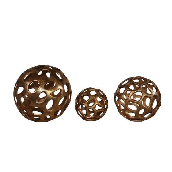 Aluminum Decorative Spheres with Irregular Cutouts, Set of Three, Gold
