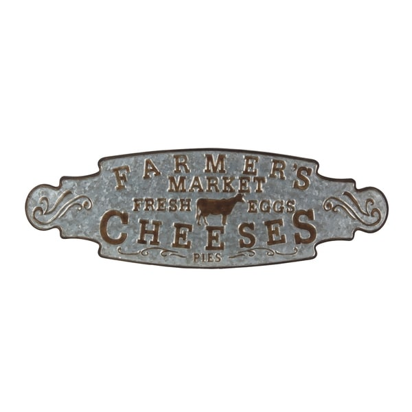 Vintage Metal Farmers Market Decor Sign with Embossed Letters, Gray