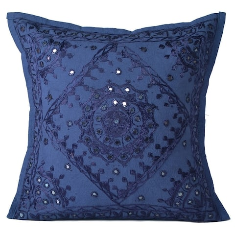 Oussum Handmade Embroidered Mirror Work Cotton Cushion Covers 16 x 16 inch
