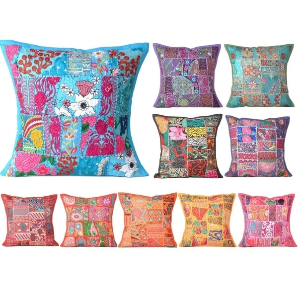 Oussum Handmade Embroidered Cotton Pillow Covers Patchwork Cushion Covers 16 x 16 inch