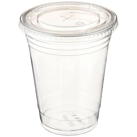 Table To Go Disposable ClearCups With Flat Lids (1200 Glasses & 1200 Lids Pack/16 Oz) Drinking Glasses 100% Bpa Free
