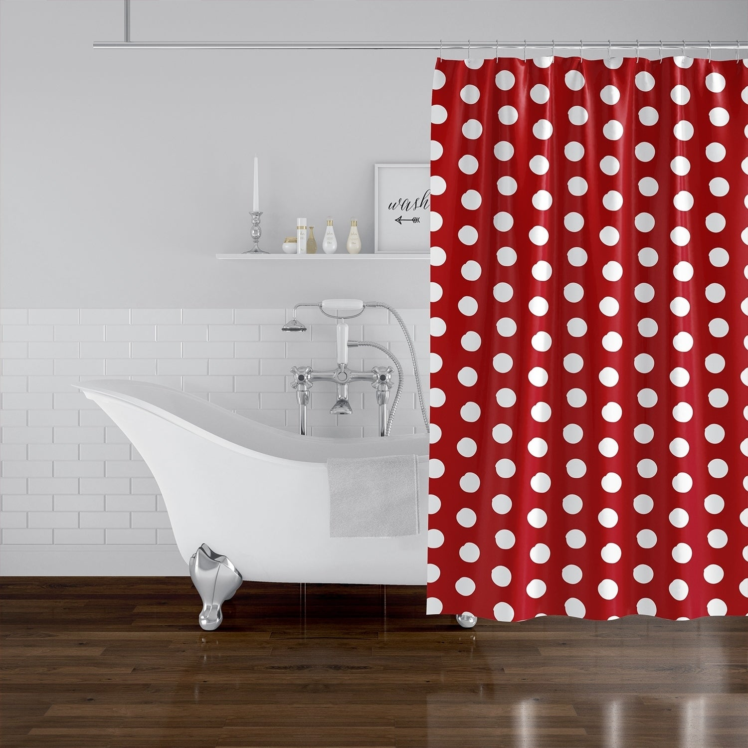 Shop Black Friday Deals On Big Polka Dots Red Shower Curtain By Kavka Designs Overstock 30497520