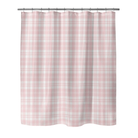 COZY PLAID BABY PINK Shower Curtain by Kavka Designs