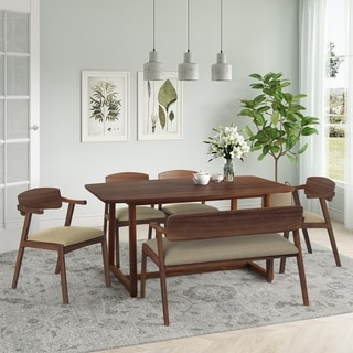 Carson Carrington Comiskey 6-piece Mid Century Modern Cherry Wood Dining Table, Arm Bench and Arm Chairs