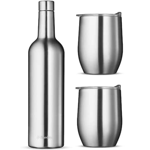 Wine Chiller Gift Set - Vacuum Insulated Wine Bottle 750ml & Two Wine Tumbler with Lids 16oz.