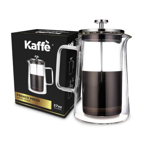 Kaffe Classic French Press Coffee Maker - 27oz - 6 Cups -Double Wall Borosilicate Glass