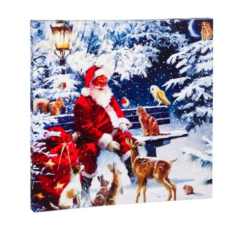 20-inch x 20-inch Santa and Winter Pals LED Musical Canvas Wall Décor