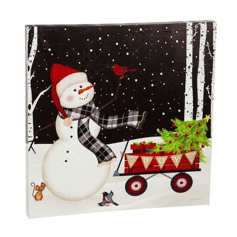 20-inch x 20-inch Snowman with Red Wagon LED Canvas Wall Décor