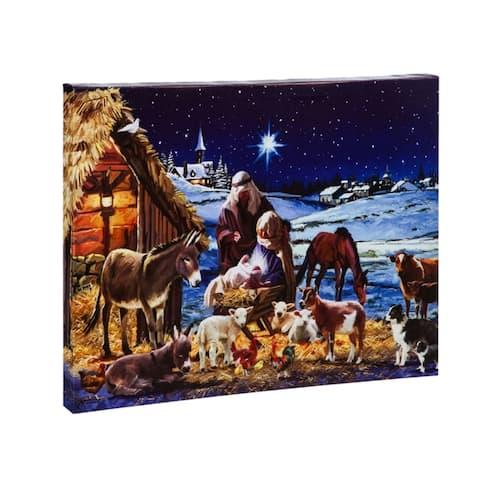 16-inch x 20-inch Nativity Scene LED Musical Canvas Wall Décor