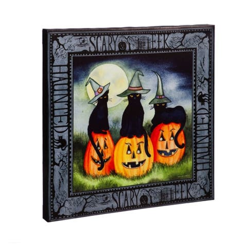 20-inch x 20-inch Haunted Jack-o-Lanterns LED Musical Canvas Wall Décor
