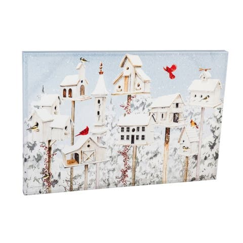 24-inch x 36-inch White Holiday Birdhouses Canvas Wall Décor