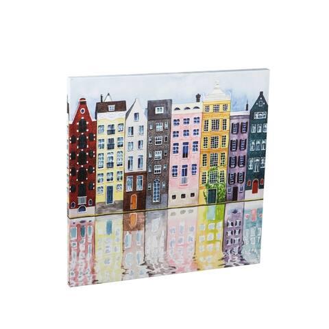 30-inch x 30-inch Neighborhood Scene Canvas Wall Décor