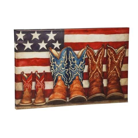 24-inch x 36-inch Patriotic Cowboy Boots Outdoor Wall Canvas