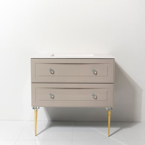 """Alma Collection 30"""" Vanity with Gold Accessories"""