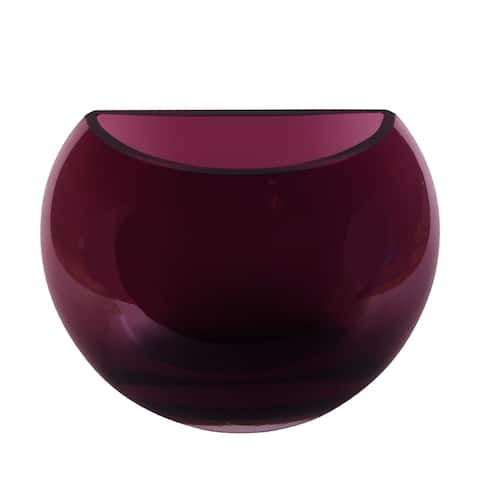 "Majestic Gifts Inc. European Glass Half Moon Vase-6.2"" Height-amethyst"
