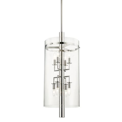 Baxter 8-light Polished Nickel Pendant, Clear Glass