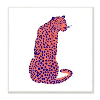 Stupell Industries Bright Leopard Blue Orange Animal Design,12x12, Wood Wall Art