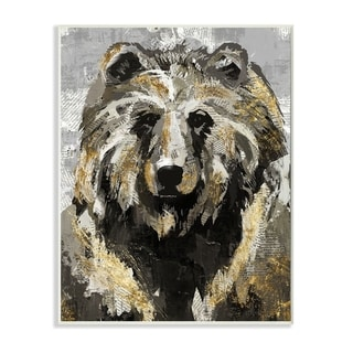 Stupell Industries Bear Newspaper Collage Grey Gold Design Wood Wall Art
