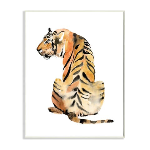 Stupell Industries Tiger Posture Animal Watercolor Painting Wood Wall Art