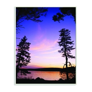 Stupell Industries Lakeside Sunset Silhouette Blue Orange Photograph Wood Wall Art