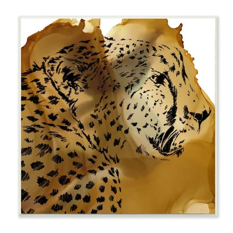 Stupell Industries Cheetah Portrait Gold Splash Animal Design,12x12, Wood Wall Art