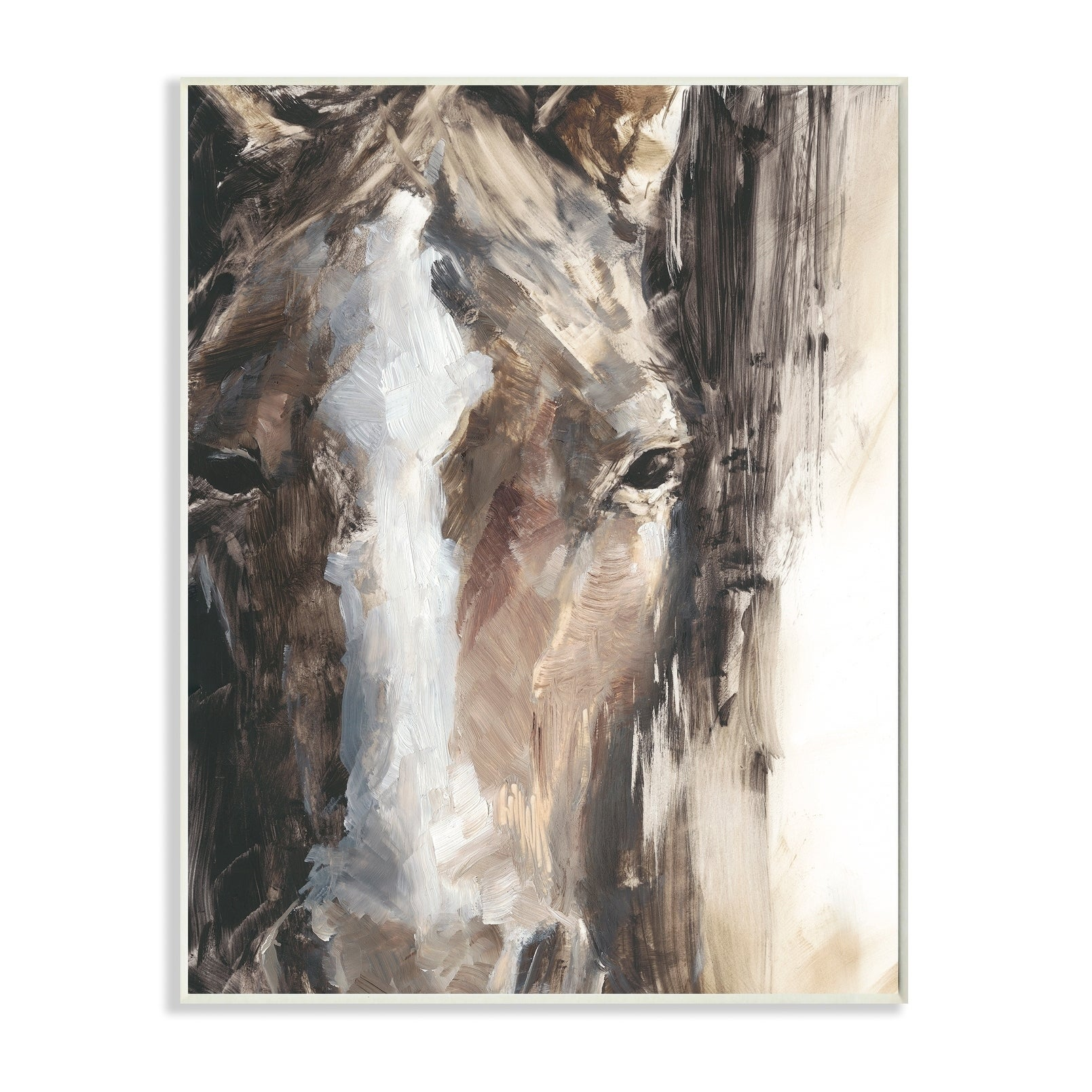 Shop Black Friday Deals On Stupell Industries Horse Eyes White Brown Animal Painting Wood Wall Art Overstock 30500846 10 X 15