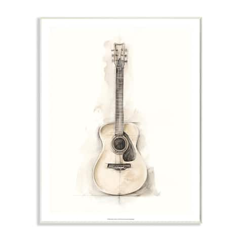 Stupell Industries Acoustic Guitar Watercolor Drawing Wood Wall Art