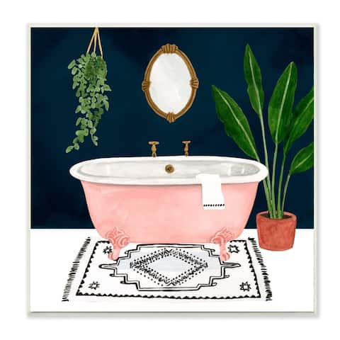 Stupell Industries Designer Bathroom Pink Blue Design,12x12, Wood Wall Art