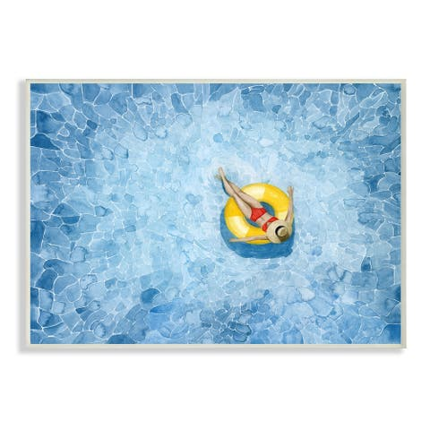 Stupell Industries Pool Floats Blue Yellow Watercolor Painting Wood Wall Art