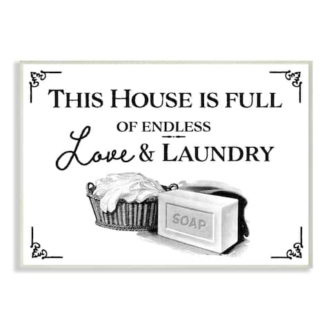 Stupell Industries Endless Love and Laundry Bathroom Word Design Wood Wall Art
