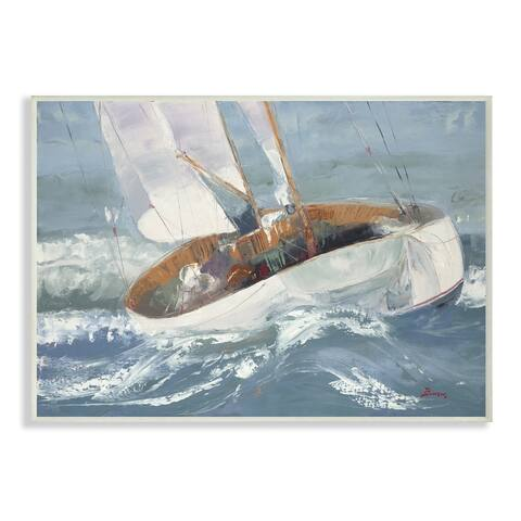 Stupell Industries Sailboat Sea Slopes Ocean Blue Brown Beach Painting Wood Wall Art