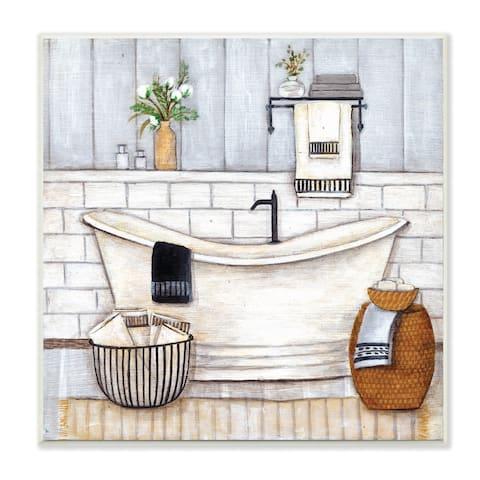 Stupell Industries Bathroom Farmhouse Style Tub Neutral Grey Drawing,12x12, Wood Wall Art
