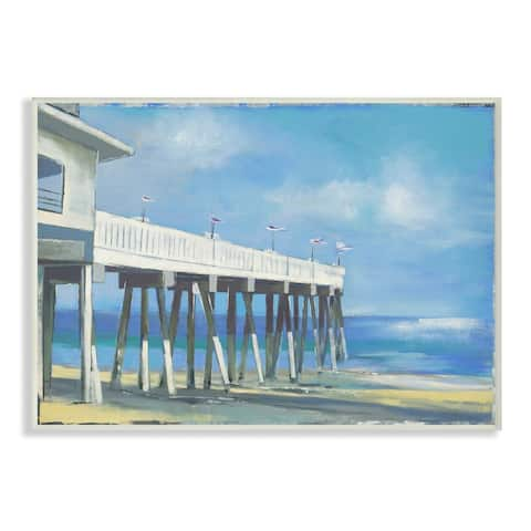 Stupell Industries Beach Boardwalk Ocean Blue Landscape Painting Wood Wall Art