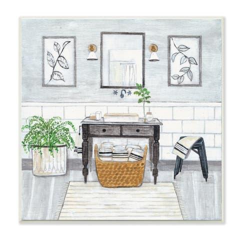 Stupell Industries Bathroom Farmhouse Style Neutral Grey Drawing,12x12, Wood Wall Art
