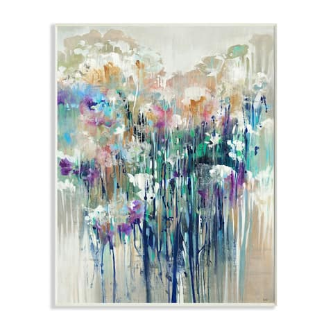 Stupell Industries Abstract Blue Purple Drip Painting Wood Wall Art