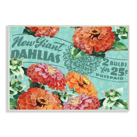 Stupell Industries Farm Flowers Red Green Print Pattern Design Wood Wall Art