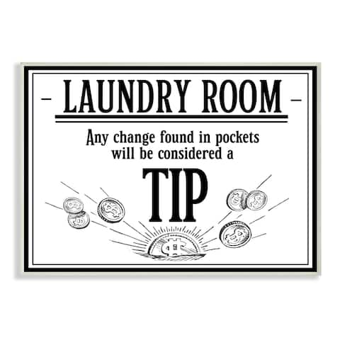 Stupell Industries Laundry Room Tips Funny Bathroom Word Design Wood Wall Art