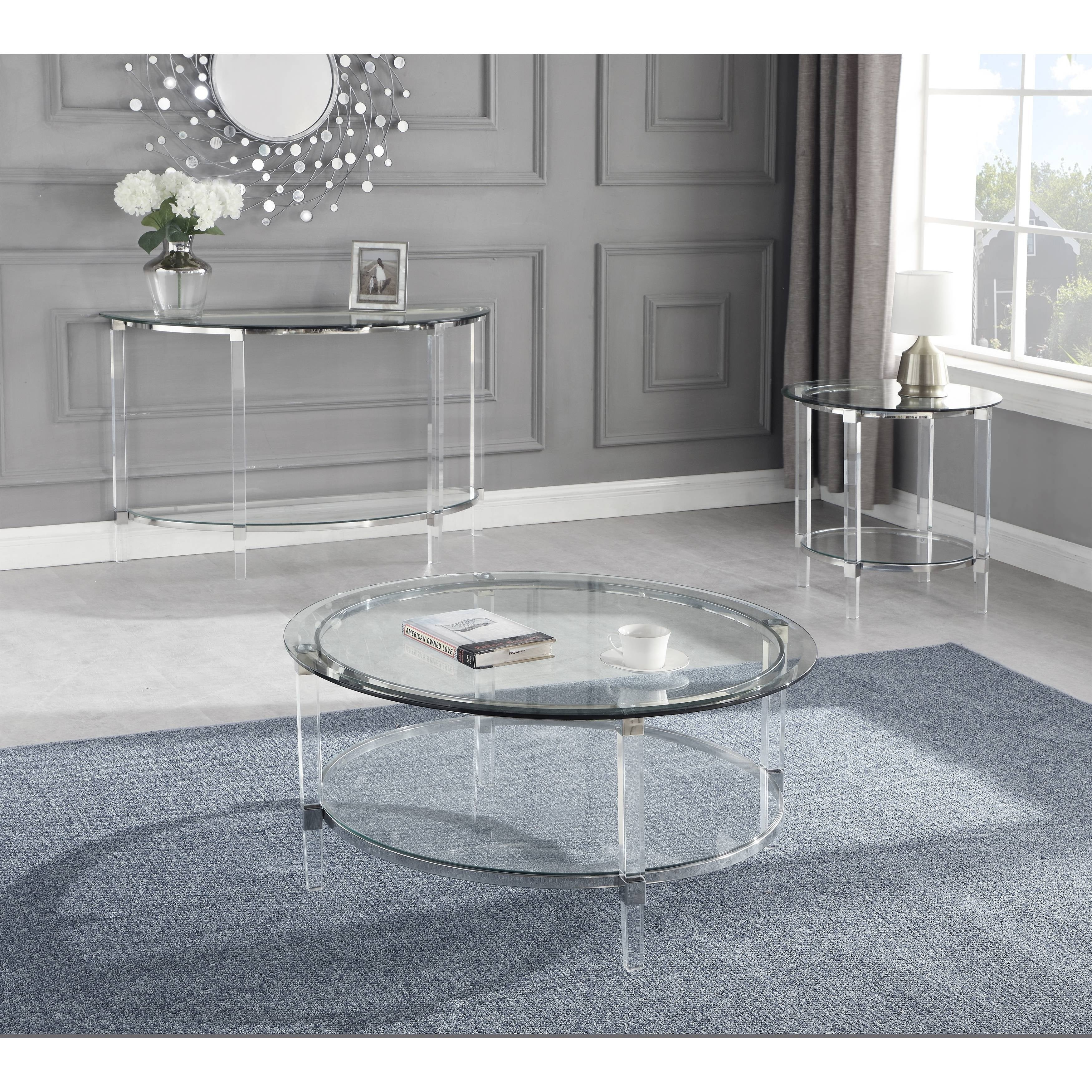 Best Quality Furniture 3pc Coffee Table Set Glass Top Acrylic Legs Coffee Table End Table Console Table On Sale Overstock 30501382