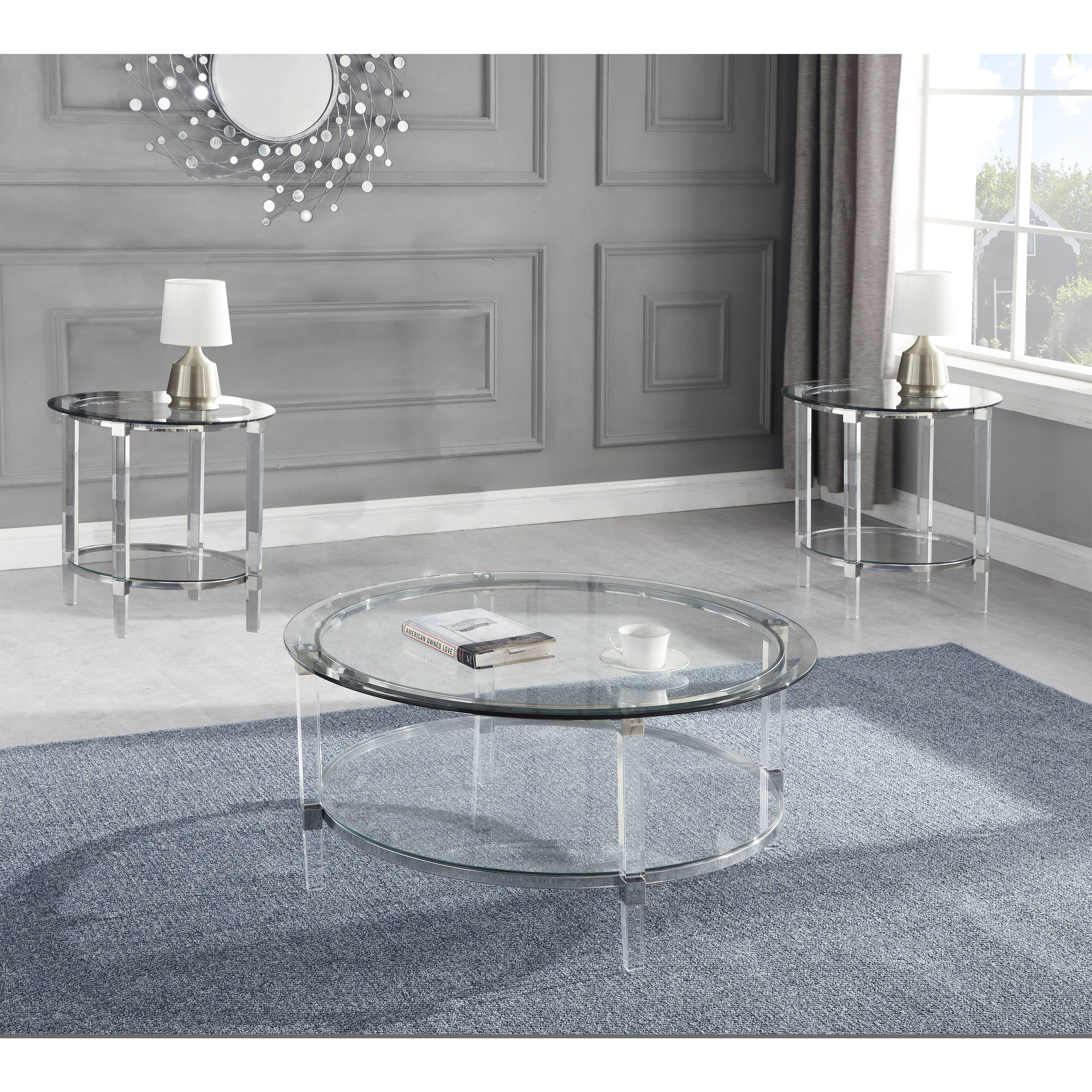Picture of: Best Quality Furniture 3 Piece Coffee Table Set With Round Clear Glass Top And Acrylic Legs Overstock 30501524